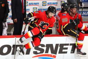 CALGARY, ALBERTA - APRIL 24: Rasmus Andersson #4 of the Calgary Flames skates against the Montreal Canadiens at Scotiabank Saddledome on April 24, 2021 in Calgary, Alberta. (Photo by Gerry Thomas/NHLI via Getty Images)