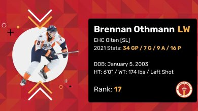"""Brennan Othmann 2021 Draft Profile Card. Left Wing. EHC Olten (SHL). 2021 Stats: 34 Games Played, 7 Goals, 9 Assists, 16 Points. Date of Birth: January 5, 2003. Height: 6'0"""". Weight: 174 pounds. Left shot. Draft Rank: 17."""