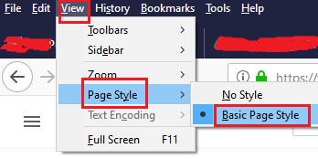 Reset the style of the web page