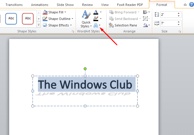 Add a shadow to the text