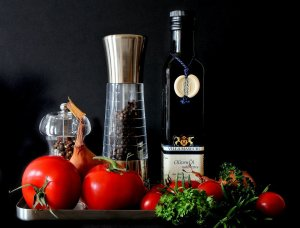 olive oil, tomatoes, herbs