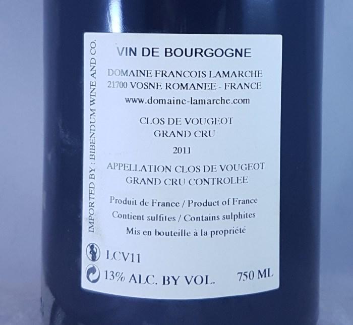 Francois Lamarche Clos de Vougeot Grand Cru 2011 Back Label
