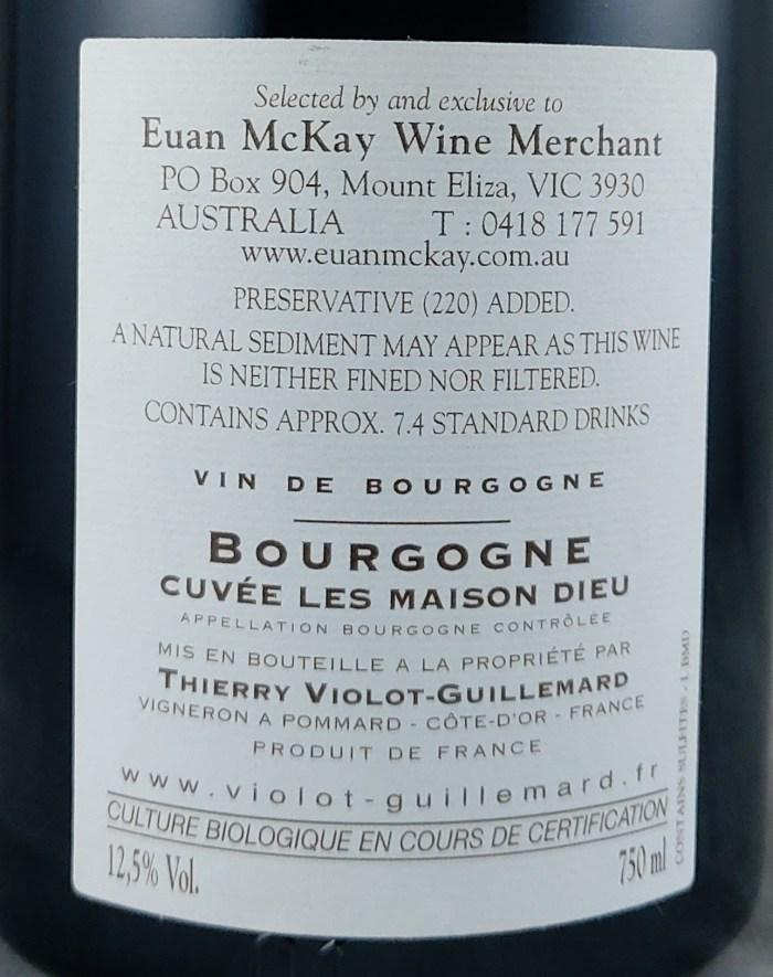 Thierry Violot Guillemard Bourgogne Rouge Les Maison Dieu 2014 Back Label