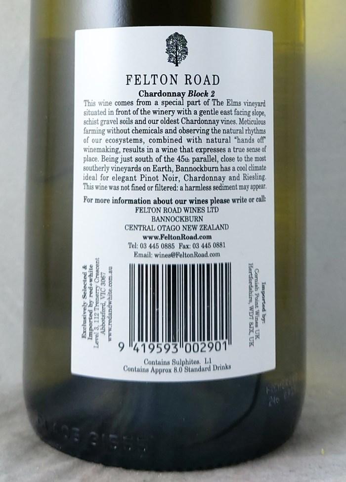 Felton Road Block 2 Central Otago Chardonnay 2019 Back Label