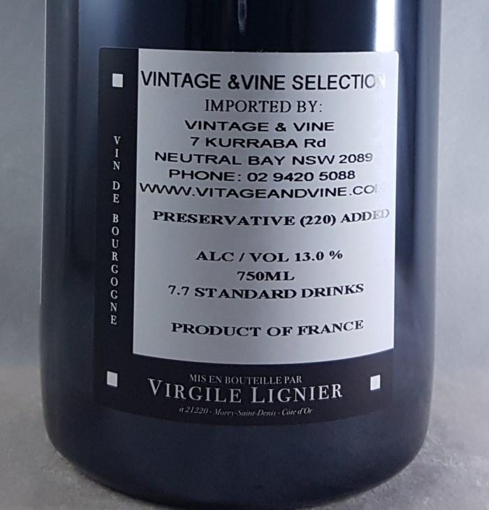 Lignier Michelot En La Rue De Vergy Morey-St-Denis 2014 Back Label