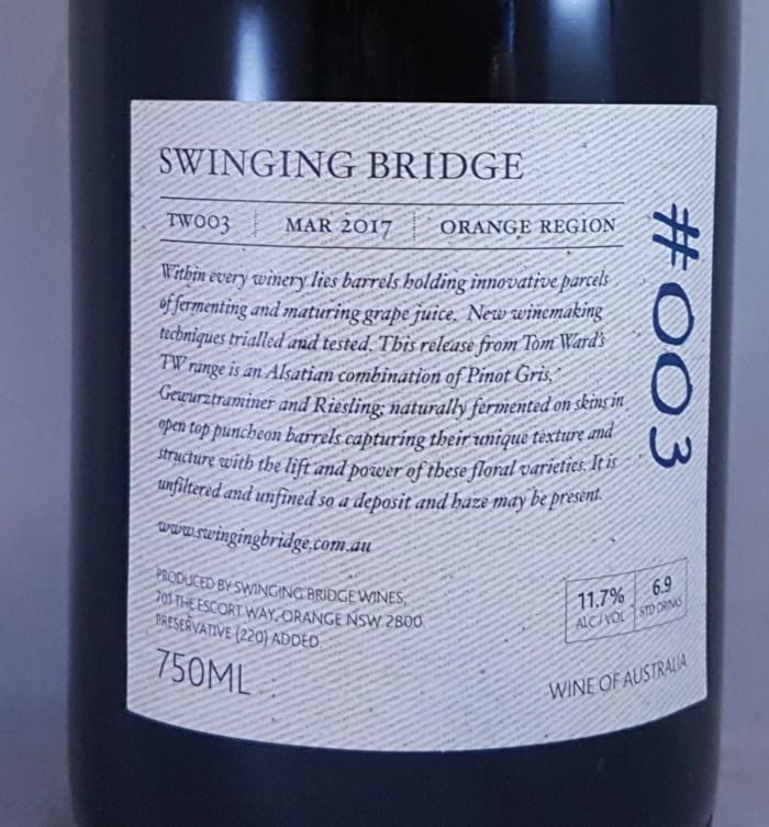 Swinging Bridge #003 Amber Field Blend Orange 2017 Back Label