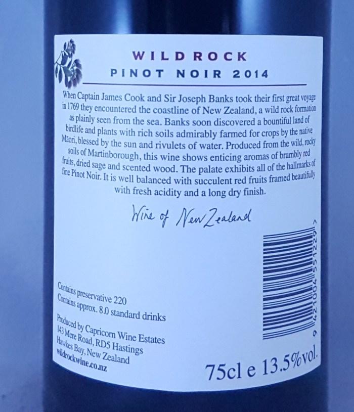 Craggy Range Wild Rock Martinborough Pinot Noir 2014 Back label