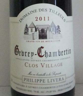 Domaine Philippe Livera Gevrey Chambertin Clos Village 2011