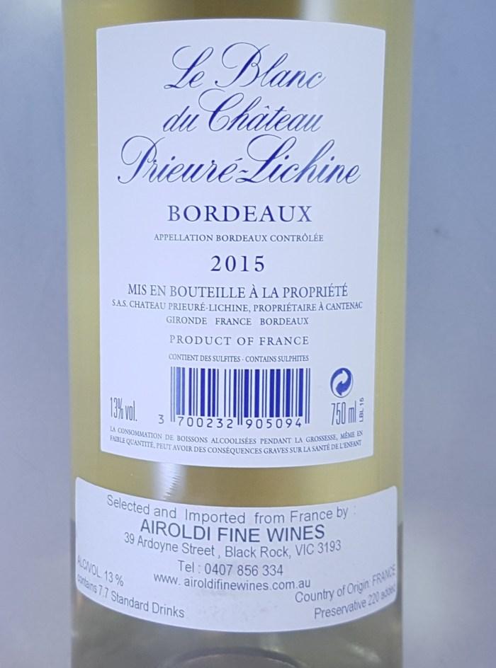 Le Blanc Du Prieure Lichine Bordeaux AOC 2015 Back Label