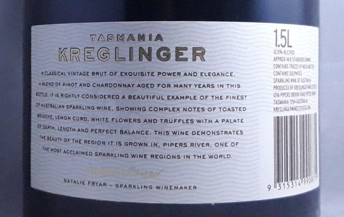 Kreglinger Vintage Brut Tasmania 2006 1500ml Back Label