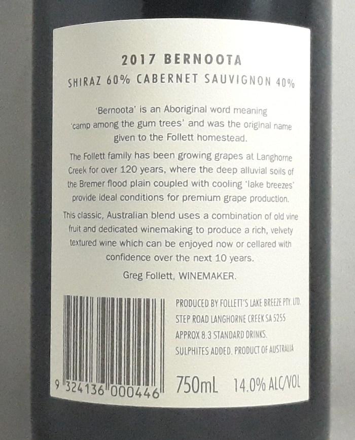 Lake Breeze Bernoota Shiraz Caberent Langhorne Creek 2017 Back Label