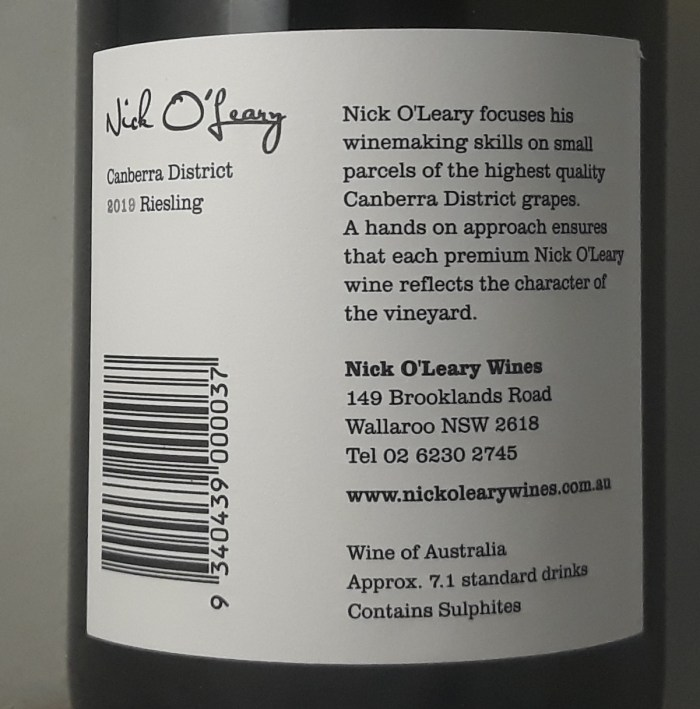 Nick O'Leary Canberra District Riesling 2019 Back Label