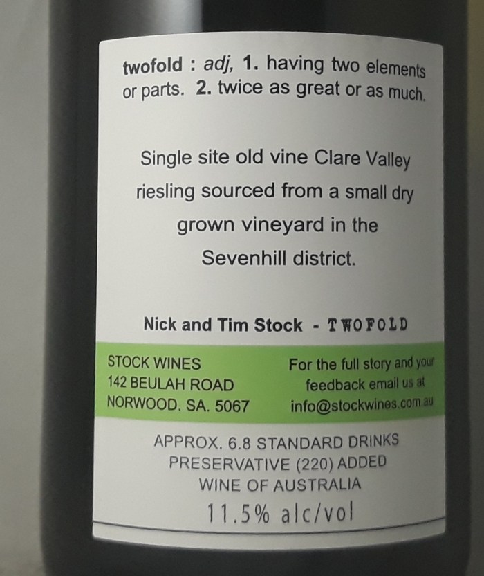 Twofold Riesling Clare Valley 2017 Back Label