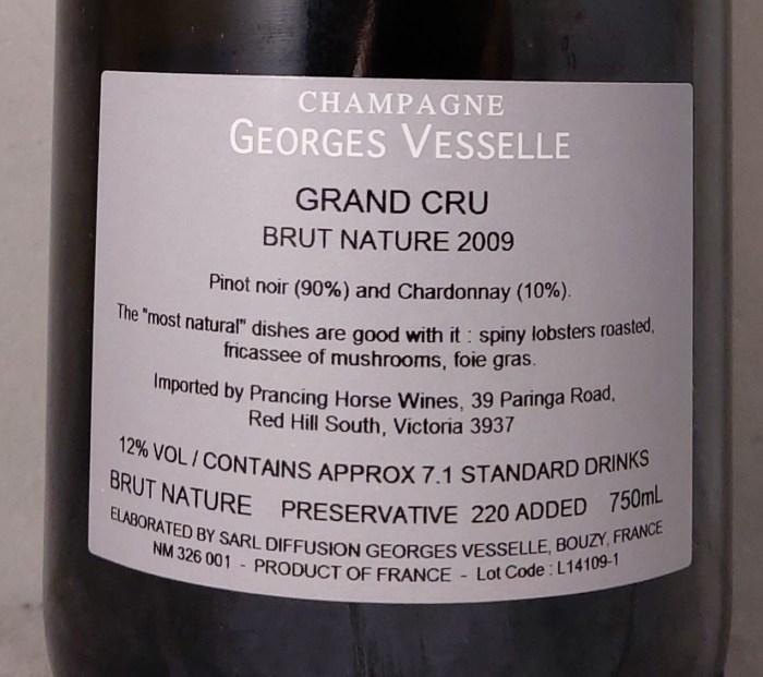 Georges Vesselle Brut Nature Grand Cru 2009 Back Label