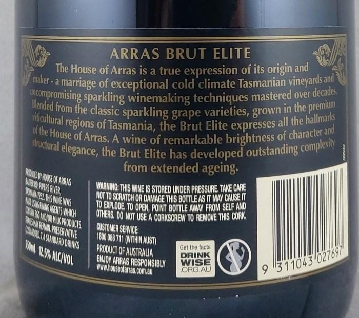 House of Arras Brut Elite 1501 Tasmania NV Back Label