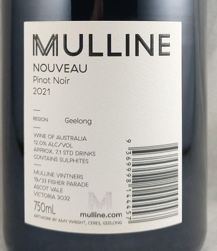 Mulline Vintners Nouveau Geelong Pinot Noir 2021 Back Label