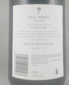 Dog Point Marlborough Chardonnay 2011 Back Label