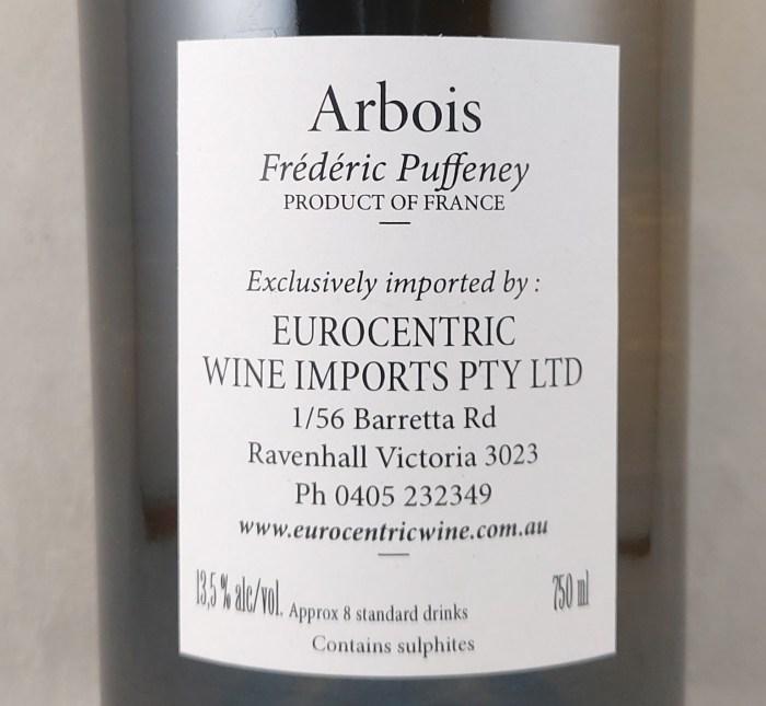Frederic Puffeney Tradition Arbois Savagnin Chardonnay 2018 Back Label