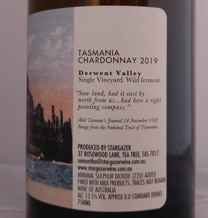 Stargazer Chardonnay Tasmania 2019 Back Label