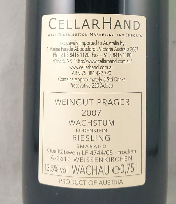 Weingut Prager Wachstum Bodenstein Riesling Smaragd 2007 Back Label