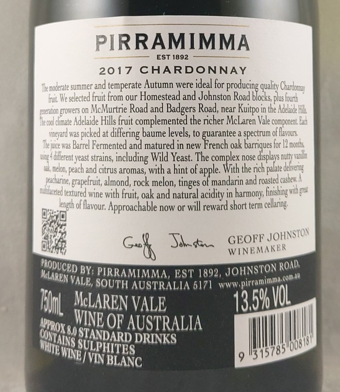 Pirramimma White Label Chardonnay 2017 Back Label