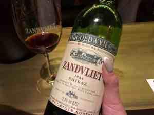 Zandvliet wine shiraz 1984