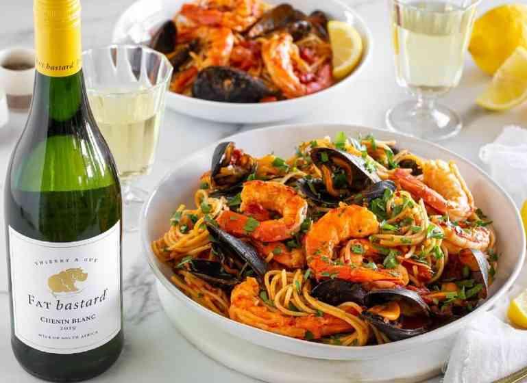 FAT bastard chenin blanc pairing with seafood spaghetti recipe