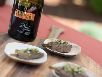 Lamb Skewers with Olive & Charred Lemon Relish paired with 2014 Twomey Bien Nacido Vineyard Santa Maria Valley Pinot Noir