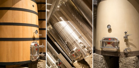Three types of tanks, French oak, stainless steel and concrete - Davis Estates tank rooms