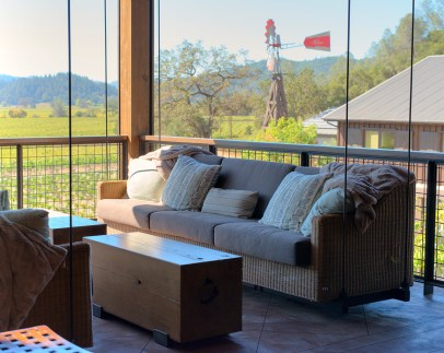 Swinging sofas on the lanai area of the tasting room at Davis Estates