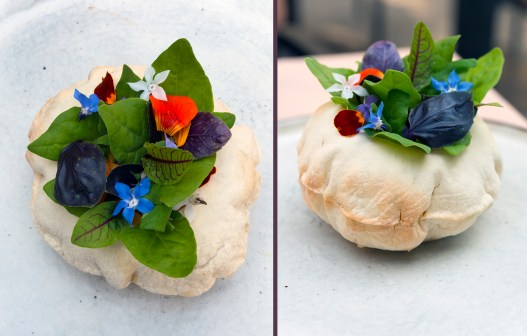 The Carta Di Musica stunning first course with edible flowers