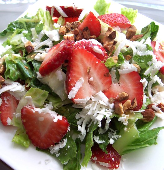 This Spicy Strawberry Salad is a treat in winter when strawberries start appearing in the stores again, not to mention when strawberries are in season!