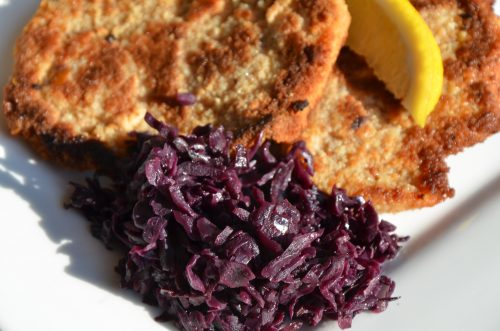 Red Cabbage on a plate with schnitzel