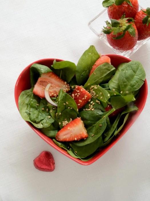 Healthy No Fat Strawberry Spinach Salad