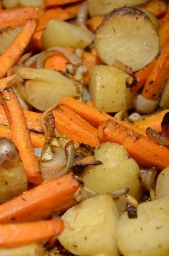 Sheet Pan Balsamic Roasted Baby Potatoes and Carrots