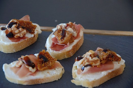 Serrano Ham With Fig and Walnut on French Baguette