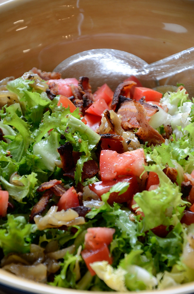 This BLT Salad, as in Bacon, Lettuce and Tomato Salad with curly endive lettuce will perk up your winter salad selections.