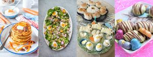 Collage of Easter salad, sandwiches, bread and eggs