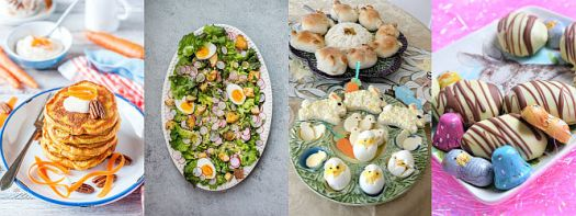 Ideas from great Canadian Food Bloggers for Easter Breakfast, Lunch or Dinner! Pancakes, sandwiches, breads, roasts and bunny and egg inspired desserts!