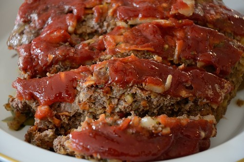 Sliced meatloaf with brown sugar ketchup topping