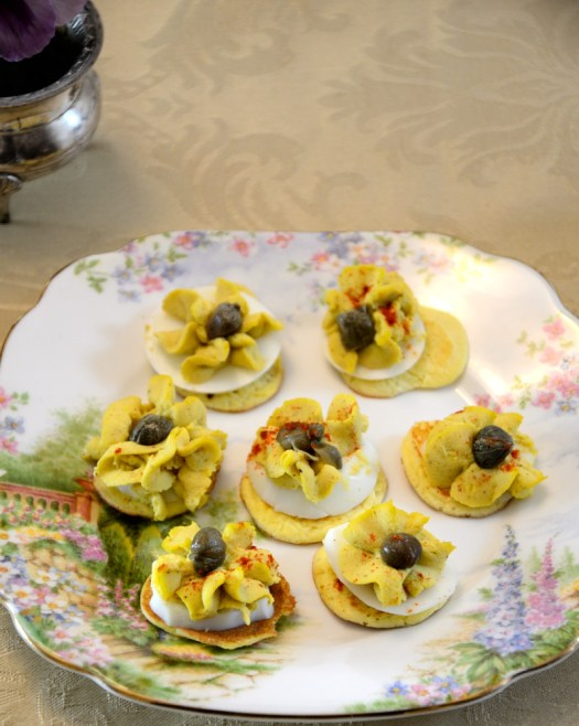These tasty Tea Time Curried Egg Drops are daintier than deviled eggs but are big on flavour. They make an elegant addition to your tea trolley, brunch or picnic.
