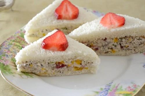 Chicken Salad Tea Sandwiches with Strawberries and Mandarins