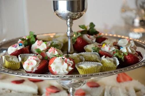 Strawberry Cream Cheese Bites and Lemon Squares on Tea Trolley