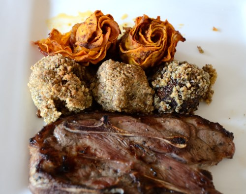Grilled Lamb Chops with Nutty Mushrooms and Sweet Potato Roses