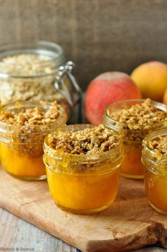 Picnic Mason Jar Peach Crisp