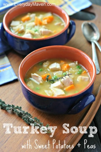 Turkey Soup with Sweet Potatoes and Peas