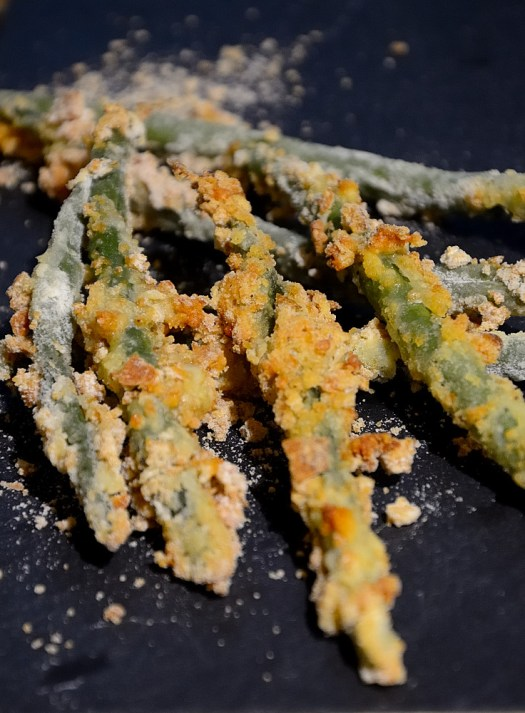 I have become a fan of these Crispy Oven Green Beans of late. Breading the green beans gives them enough substance you don't need another starch with your meal.