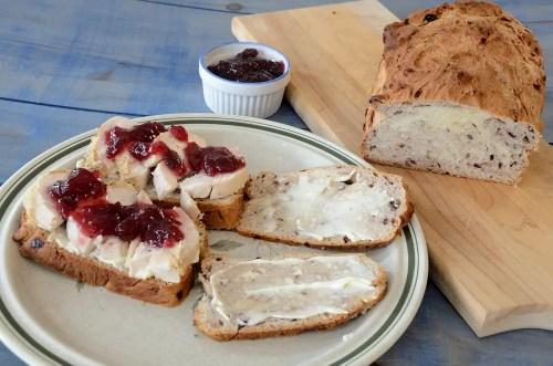 Leftover turkey sandwich using cranberry walnut bread