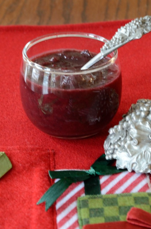 This Double Cranberry Sauce was originally intended as a steak sauce.  I served it with duck breast and steak but it will go with many other meats as well.