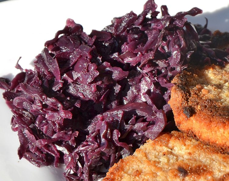 Close up of red cabbage on a plate